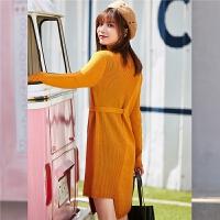 韩版半高领毛衣女2018冬季新款百搭长袖学生显瘦修身系带毛针织衫