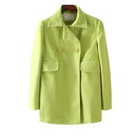 秋冬装女装 东大门纯色双排四粒扣西装领毛呢外套女长袖