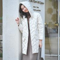 羽绒服女中长款轻薄韩版大码宽松白鸭绒连帽时尚冬装外套