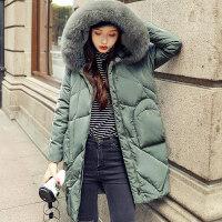 反季羽绒服女中长款2018新款韩版潮时尚宽松大毛领冬加厚女士外套