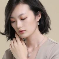 925银耳环女气质韩国耳饰双生花镂空简约百搭个性耳坠 耳坠一对