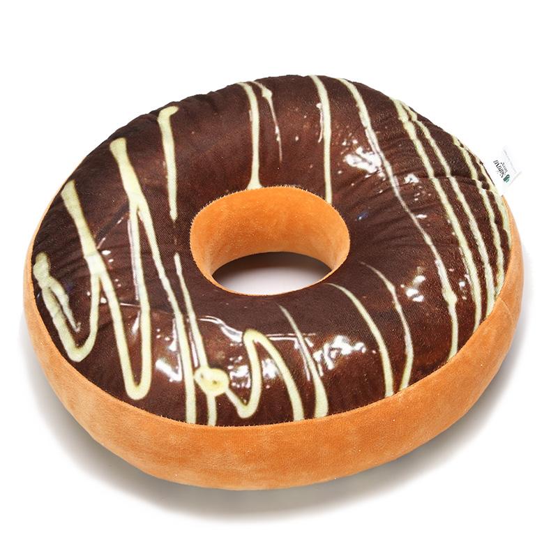 甜甜圈加厚舒适乳胶圆形坐垫椅汽车办公室教室学生加厚透气 牛奶巧克力 牛奶巧克力 中号