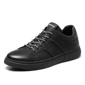 西瑞板鞋男士韩版黑色百搭休闲鞋低帮潮鞋小黑鞋平底牛皮鞋男6363