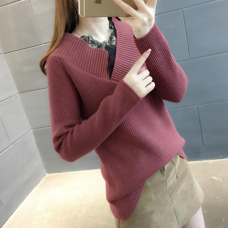 毛衣女士宽松春装新款韩版套头学生蕾丝拼接V领套头针织打底衫潮 发货周期:一般在付款后2-90天左右发货,具体发货时间请以与客服协商的时间为准