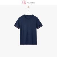 海澜之家旗下品牌 海澜优选生活馆 简约撞色夏季短袖针织T恤男