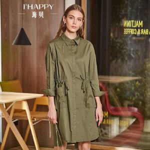 海贝2018春季新款女装 翻领长袖单排扣收腰系带纯色衬衫式连衣裙