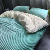 糖果色简约短毛珊瑚绒四件套双面加厚保暖双拼纯色法兰绒床上用品
