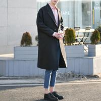 韩版中长款大衣薄外套秋季潮流西装领男士宽松长款过膝风衣