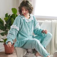 冬季月子服前扣法兰绒加绒产后加厚孕妇睡衣女喂奶保暖冬天哺乳期