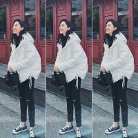 小款羽绒服女短款冬装韩版白色宽松加厚连帽白鸭绒外套潮