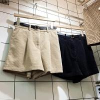 显高复古纯色直筒休闲显瘦韩版秋冬新款短裤配皮带