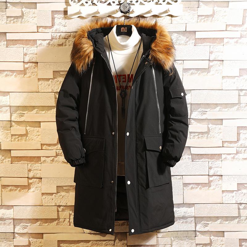 男士棉服新款毛领连帽冬季中长款棉衣潮流加厚学生棉袄外套男