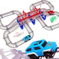充电多层轨道车玩具电动汽车小火车儿童赛车男孩旋转过山车