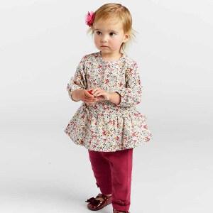 戴维贝拉春秋新款套装 女宝宝碎花印花两件套DBA7966