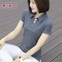 半袖女t恤棉质衬衫领翻领短袖夏装大码女装打底衫有领上衣职业装