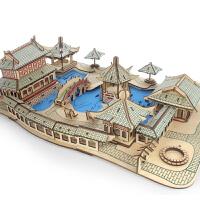手工木质立体拼图房子模型儿童玩具古建筑积
