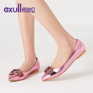 依思q新款春单鞋休闲潮纯色低跟百搭尖头平跟女鞋