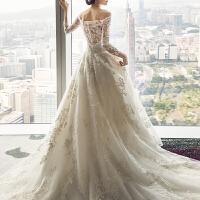 婚纱礼服2018新款新娘结婚欧美一字肩长袖拖尾齐地性感2018