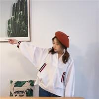 2017秋季新款韩版织带装饰休闲宽松蝙蝠袖V领长袖衬衣学生上衣女 白色 均码 (160/84A)