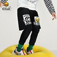 B.duck小黄鸭童装男童裤子新款中大童假两件黑色运动长裤BF3063906