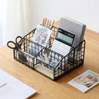 桌面收纳篮遥控器收纳盒铁艺多层办公用品收纳架文具整理收纳筐