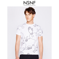 NSNF手绘线形图案白色纯棉圆领修身男款T恤 短袖男装2017新款 修身圆领针织短袖