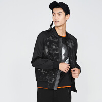gxg.jeans男装秋季休闲黑底白花修身棒球服立领夹克外套63621063