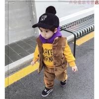 男童冬装2018新款套装0宝宝金丝绒1秋冬季童装2儿童帅气洋气潮3岁