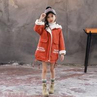 冬季女童秋冬装外套2018新款中长款洋气中大童加绒加厚儿童棉衣潮秋冬新款