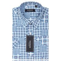 YOUNGOR雅戈尔男装 商务休闲 男士 全棉 白底蓝色印花 短袖衬衫  SXX13802-22