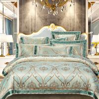 伊迪梦家纺 欧美式高精密贡缎提花四件套纯棉提花绣花宽边1.8m/2.0米大床上用品六件套RQ62