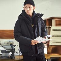 羽绒服男短款2018冬季新款韩版潮流帅气加厚学生连帽工装外套