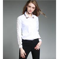 秋装新款女装白色优雅翻领蕾丝拼接绣花女长袖衬衫上衣