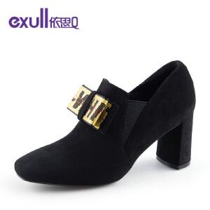 依思Q新款时尚方头蝴蝶结韩版粗跟高跟女鞋