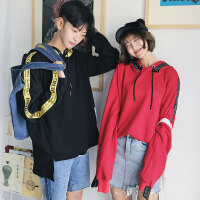 新款秋季新品韩版潮流织带开叉情侣卫衣贴布连帽卫衣男士开衫