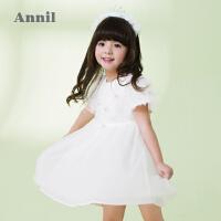 【3件3折:141】安奈儿童装女童拼纱蛋糕袖连衣裙夏装新款