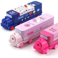 迪士尼文具盒女童小学生HelloKitty卡通铁笔盒铅笔盒公主 女孩可爱KT猫创意多功能汽车笔盒1-3-5年级
