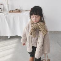 依依宝贝毛毛大衣小童女童外套秋冬装2018新款儿童女加厚加绒宝宝 米色