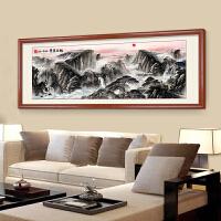 客厅装饰画壁画沙发背景挂画国画旭日东升山水画风水靠山
