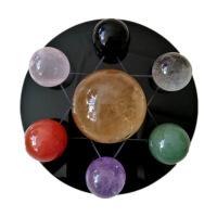 天然七彩紫白粉黄黑绿红水晶球七星阵摆件招财转运促事业