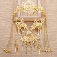 新娘金色中式古装头饰和服凤冠发箍长流苏发簪结婚礼服发饰品