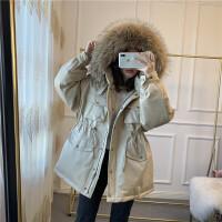 2018新款羽绒服女工装韩国连帽大毛领宽松抽绳加厚保暖外套冬装