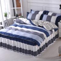 棉床裙款床罩四件套裙式床单带花边1.5米1.8m棉床上被套