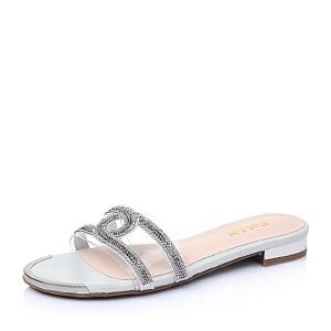 Belle/百丽夏贴膜山羊皮革欧美方跟女凉鞋3E2E8BT6
