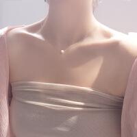 可爱米粒豆子母贝珍珠吊坠S925银项链锁骨链精致细款女款