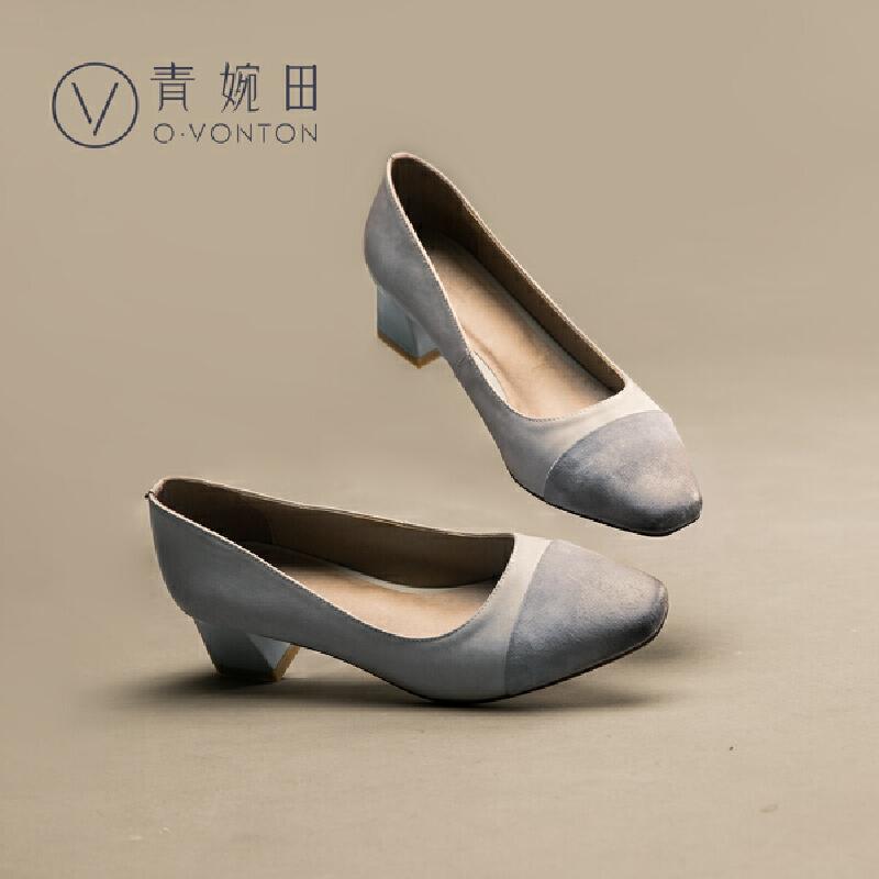 青婉田2018春季新款女鞋真皮拼接粗跟复古方头方跟浅口单鞋女中跟尺码正常,脚感舒适,反绒羊皮