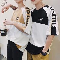 情侣装夏装新款港风长颈鹿印花圆领短袖T恤男学生插肩袖字母T恤