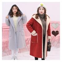 秋冬新款大码女装胖mm加肥加大码羊羔绒加厚韩版外套修身上衣