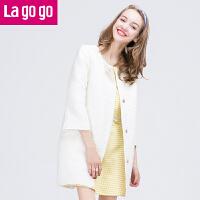 【每满200减100】拉谷谷冬新品七分袖茧型暗花纹休闲大衣