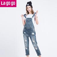 【商场同款】Lagogo/拉谷谷2017年春季新款时尚百搭纽扣牛仔背带裤GANN83A438
